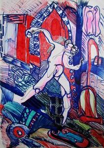 '' Bijeg '', crtež - tuš tuš u boji na papiru, 40 x 30 cm