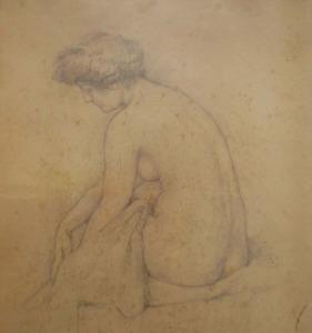 Vlaho Bukovac: '' Žena poslije kupanja, 1904., crtež olovkom na kartonu, 458 × 380 mm
