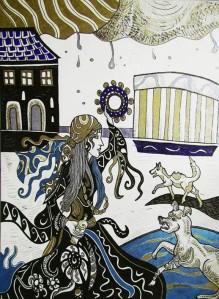'' Gypsy Queen '', tus na papiru - kombinirana tehnika, 2014.