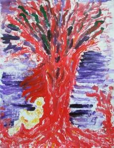 Boris Pecigoš: Šumski bard, 2010., akrilik na papiru, 65 × 50 cm