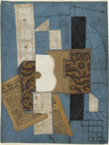 Pablo Picasso, Gitara, 1913., ugljen, olovka, tinta i kolaž, New York, Museum of Modern Art