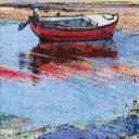 Velimir Trnski: '' Crvena barka '', 89 x 40 cm, ulje i akril na platnu, 2016.