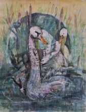Karina Sladović: '' Labudovi '', akvarel-komb. tehnika, 65 x 50 cm, 2001.