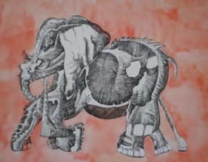 Karina Sladović: '' Slon '', akvarel-komb. tehnika, 50 x 64 cm, 2003.