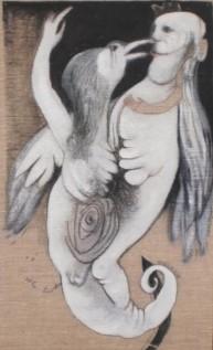 Nives Kavurić-Kurtović: '' Ptica '', ulje na platnu, 65 × 40cm + okvir, 1990.