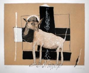Nives Kavurić-Kurtović: '' Mačka '', serigrafija, 54 × 68 cm, 2009. ( Foto: Galerija Remek-djela )