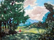 Stjepan Perković: Ljeto, akril na platnu, 18 x 24 cm