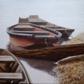 Andreja Dujnić, ''Crveni čamac'', ulje na platnu, 2016.