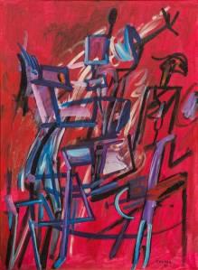 Ferdinand Kulmer, Crveni jahač, ulje na platnu, 1995.