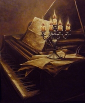 Andreja Dujnić, ''Na starom klaviru'', ulje na platnu, 2014.