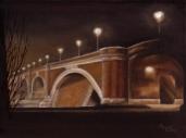 Andreja Dujnić, ''Noć nad Starim mostom'', ulje na platnu, 2015.