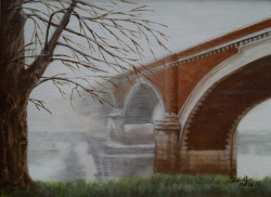 """Andreja Dujnić: """"Stari most u magli"""", ulje na platnu, 2016."""