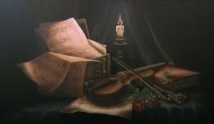 Andreja Dujnić, ''Uz Bachove partiture'', ulje na platnu, 2011.