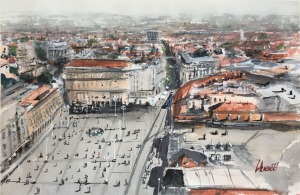 Tihomir Cirkvenčić, Zagreb I, akvarel