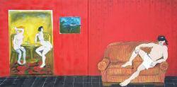 Amra Zulfikarpašić, ''Menage a trois'', akril na platnu, 100 x 200 cm