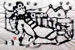 Alfred Freddy Krupa: ''Kozmička žena'', tuš i bijeli akril na dudovom papiru, 2016.