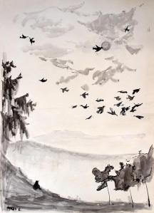 Alfred F. Krupa: ''Samo u prolazu'', lavirani tuš na kartonu, 100 x 70 cm, 1993.