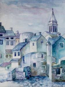 Vanja Krmpotić, ''Prošlost Fažane'', akvarel, 1989., 46.5 x 34 cm