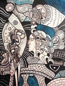 K. Gojanović, ''Susret sa tamnom sestrom'', crtež tuš na papiru