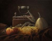 Andreja Dujnić Žmirić, ''Pokraj stare pegle'', ulje na platnu, 24 x 30 cm