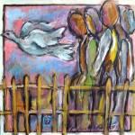 Jela Šare, ''Put na zapad'', kombinira tehnika, 60 x 60 cm