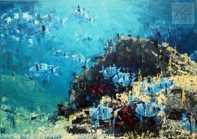 Krešimir Radas, ''Šparići i fratrići'', akril na platnu, 50 x 70 cm
