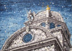 Krešimir Radas, ''Šibenska katedrala'', akril na platnu, 50 x 70 cm