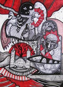 K. Gojanović, ''Svjetla i tamna Perzefona'', crtež tuš na papiru