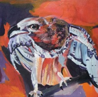 Ana Cerovski, ''U lovu'', akril na platnu, 40 x 40 cm