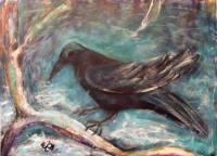 Jela Šare, ''Zima II'', akril na platnu, 40 x 50 cm