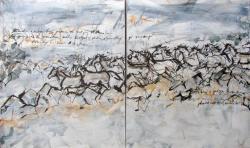 Jelena Martinović, ''Velebitski konji 3'', akril na platnu, diptih, 2 x 120 x 100 cm