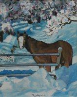 Stjepan Perković, ''Konj u snijegu'', akril na platnu, 41 x 35 cm