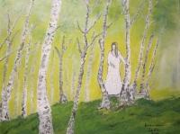 """Zlatko Isaković - Lula, """"Breza"""", akril na platnu, 50 x 40 cm"""