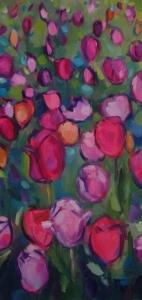 Tatjana Kreštan, ''Ružičasti pogled'', ulje na platnu, 40x20 cm