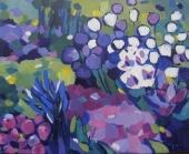 """Tatjana Kreštan, """"Ljubičasta šuma"""", akrilik na platnu, 40×50 cm"""