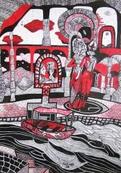 K. Gojanović: ''Crveno i crno - u carstvu Hada 1'', crtež tuš na papiru