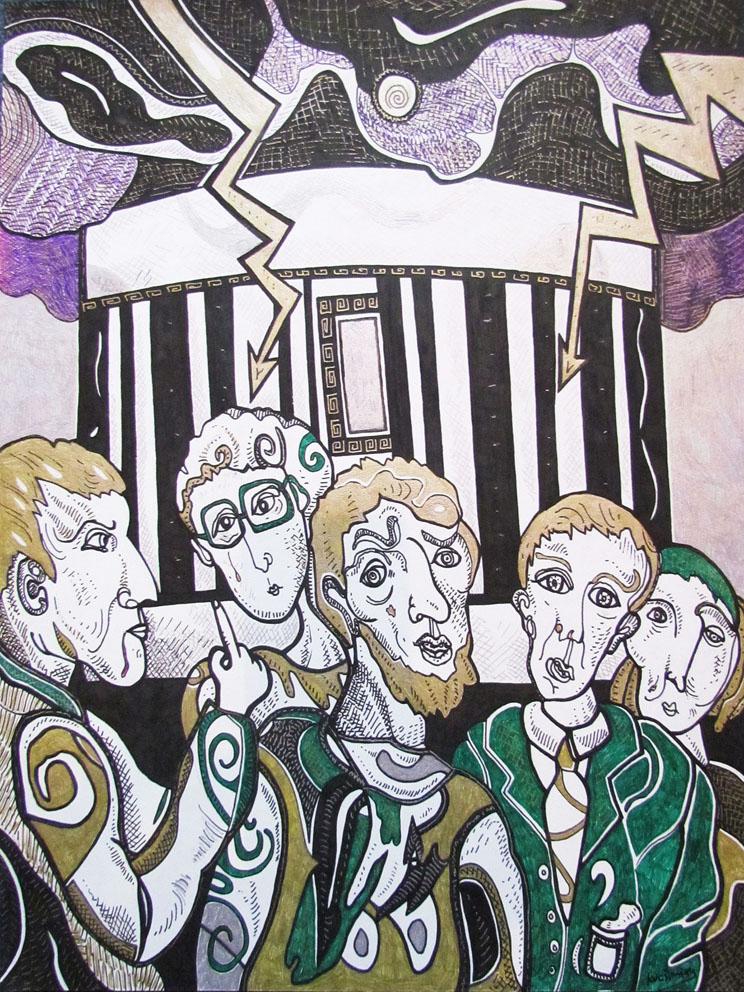 Krešimira Gojanović, ''Istjerajmo trgovce iz Hrama'', crtež tuš na papiru, 40x30 cm