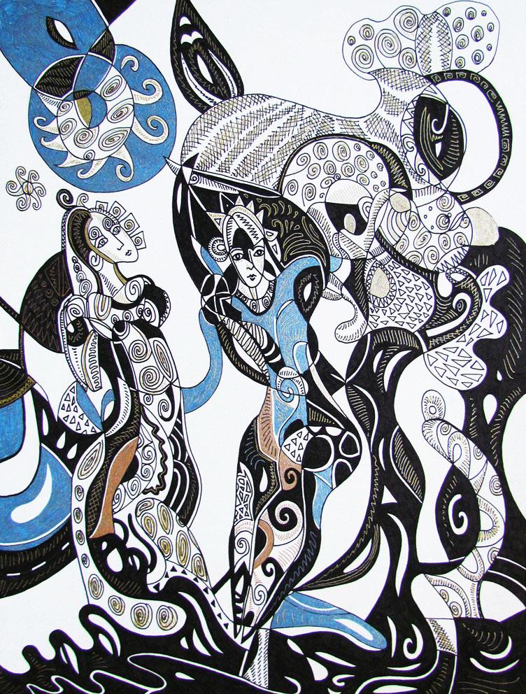 Krešimira Gojanović, ''Miris slobode 1'', crtež tuš na papiru, 40x30 cm