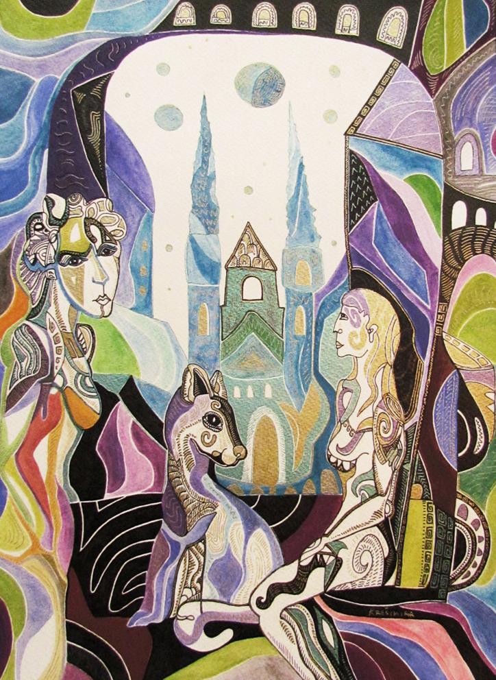 Krešimira Gojanović, ''Noć u gradu 1'', crtež tuš na papiru, 40x30 cm