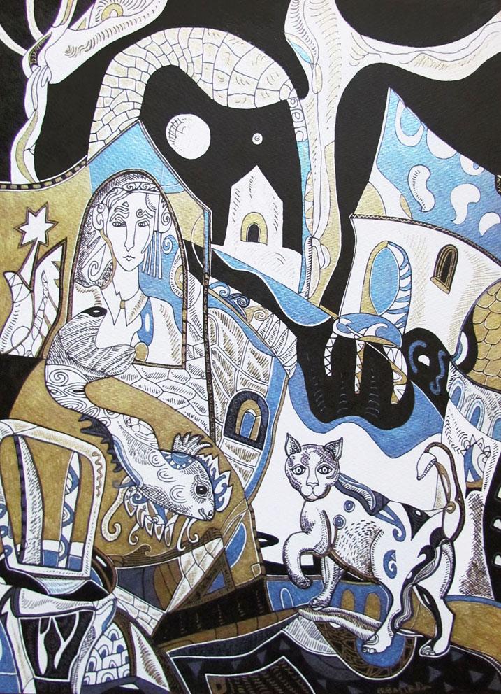 Krešimira Gojanović, ''Noć u gradu 2'', crtež tuš na papiru, 40x30 cm