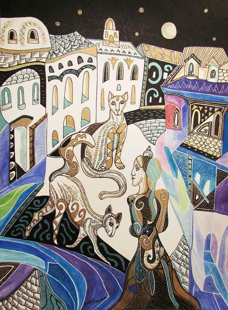 Krešimira Gojanović, ''Noć u gradu 3'', crtež tuš na papiru, 40x30 cm