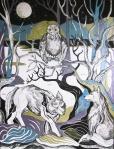 Krešimira Gojanović, ''Pas Buck u šumi sreće vuka'', crtež tuš na papiru, 40x30 cm