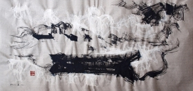 """Alfred F. Krupa, """"Pjeskarski čamac na ušću Kupe i Korane"""", labudovo pero - crni i bijeli tuš na nebijeljenom Wenzhou papiru, 46x99 cm, 2018. Foto: Matea Štedul"""
