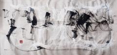 """Alfred F. Krupa, """"Rijeka"""", labudovo pero - crni i bijeli tuš na nebijeljenom Wenzhou papiru, 46x99 cm, 2018. Foto: Matea Štedul"""