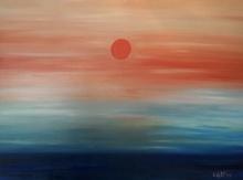 Luka Koščak, ''Crveno sunce'',ulje na platnu, 90x120 cm