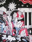 Krešimira Gojanović, ''Bakanalije u paviljonu'', crtež tuš na papiru, 40x30 cm