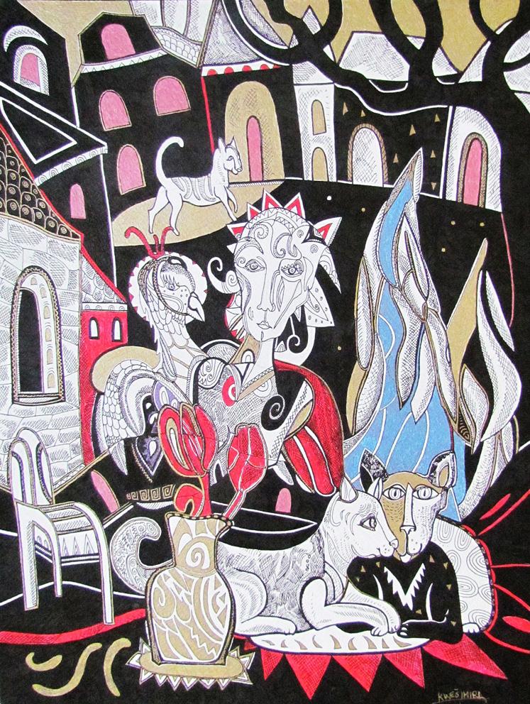 Krešimira Gojanović, ''Staklena menažerija'', crtež tuš na papiru, 40x30 cm