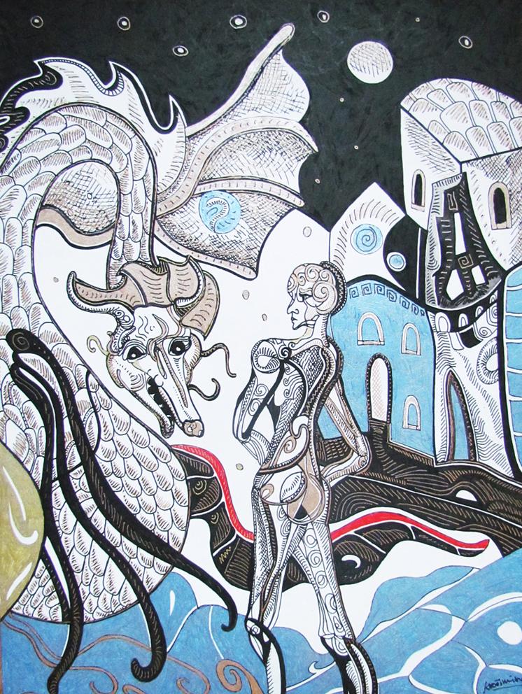 Krešimira Gojanović, ''Susret sa zmajem'', crtež tuš na papiru, 40x30 cm