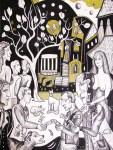 Krešimira Gojanović, ''U sjeni magnolije'', crtež tuš na papiru, 40x30 cm