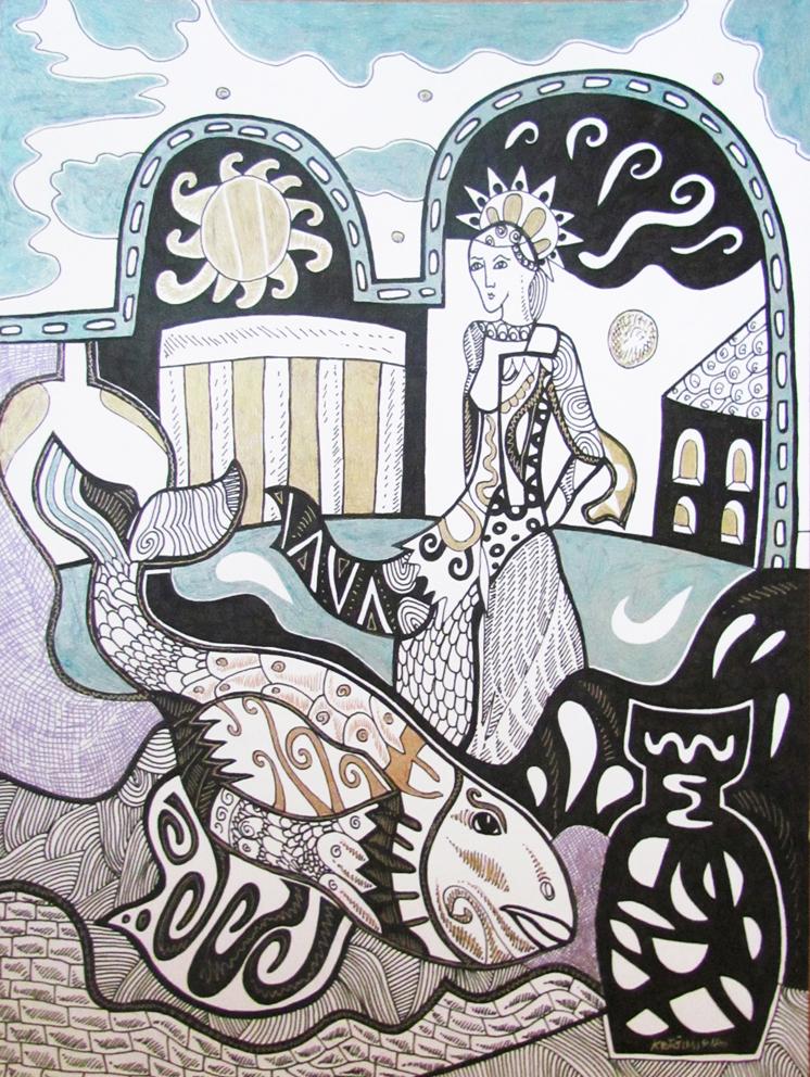 Krešimira Gojanović, ''Utopljena u fontani'', crtež tuš na papiru, 40x30 cm